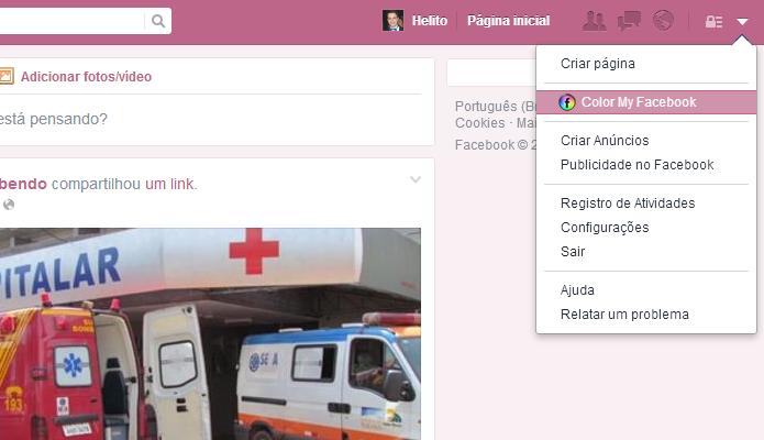 Personalizando cor do Facebook (Foto: Reprodução/Helito Bijora)