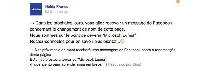Nokia da França foi a primeira a citar o Microsoft Lumia (Foto: Reprodução)