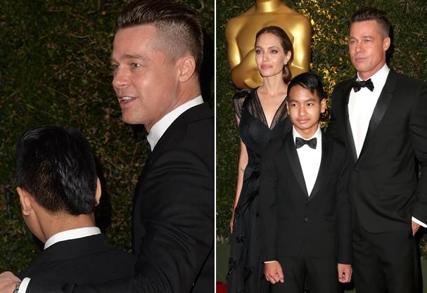 Brad Pitt e Maddox e ao lado com Angelina (Foto: Getty Images)