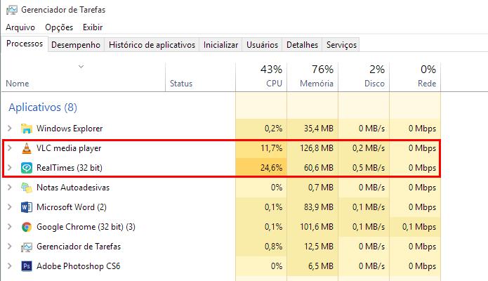 RealPlayer consome metade da memória RAM que o VLC, mas perde no uso de CPU (Foto: Reprodução/Paulo Alves)