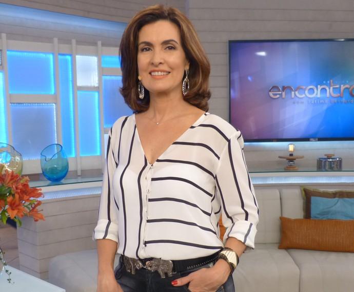 Fátima Bernardes no comando do Encontro (Foto: CEDOC/TV Globo)