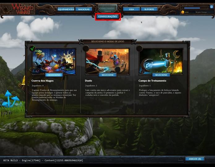"""Clicando em """"Configurações"""" o jogador poderá escolher um dos dois tipos de partida multiplayer ou o ambiente de treino (Foto: Reprodução/Daniel Ribeiro)"""