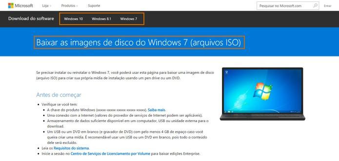 Microsoft disponibiliza sistemas Windows em formato ISO para internautas (Foto: Reprodução/Barbara Mannara)