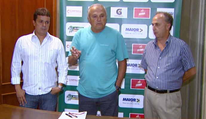 Evaristo Piza, Walter Gama e Sérgio do Prado no Guarani (Foto: Ricardo Custódio / EPTV)