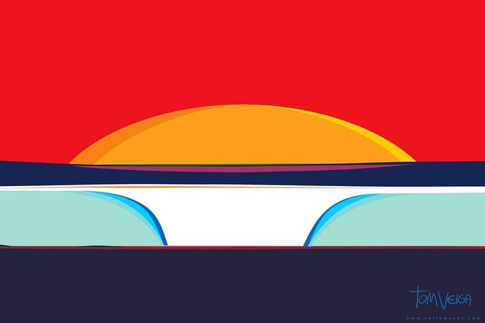 Ondas e o sol ao fundo: um dos primeiros trabalhos de Tom Veiga, de 2009 (Foto: Reprodução/Facebook)