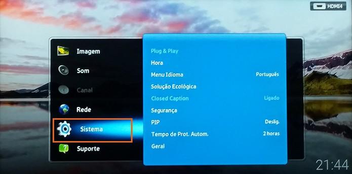 Acesse as configurações do Sistema da Smart TV Samsung (Foto: Reprodução/Barbara Mannara)
