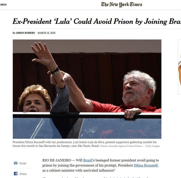 New York Times destaca que o ex-presidente pode assumir um cargo no governo para evitar ser preso  (Foto: Reprodução/New York Times)