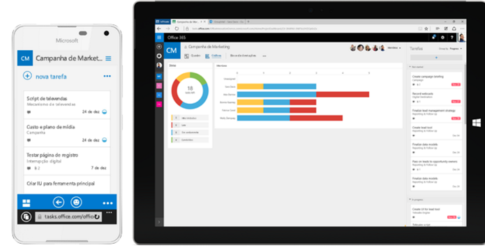 Interfaces do Microsoft Planner (Foto: Reprodução/Felipe Vinha)