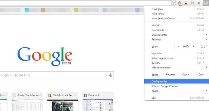 """No menu do Chrome, selecione a opção """"Configurações"""" (Foto: Reprodução/Maria Clara Pestre)"""