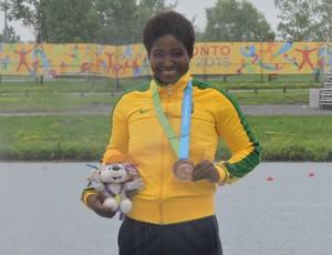 Valdenice Conceição terminou em terceiro no C1 200m (Foto: Divulgação/Confederação Brasileira de Canoagem)