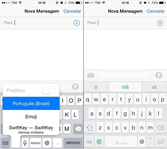Teclado personalizado no iOS 8 (Foto: Reprodução/Helito Bijora)