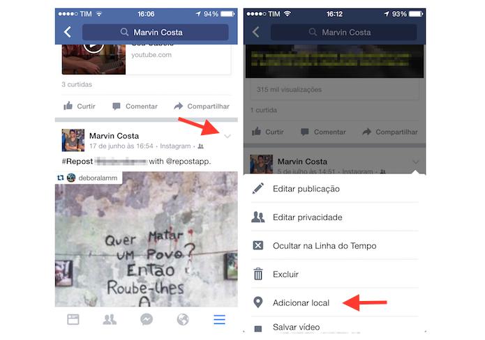 Acessando a página para vincular uma localização em uma publicação do Facebook pelo aplicativo para iPhone (Foto: Marvin Costa/TechTudo)