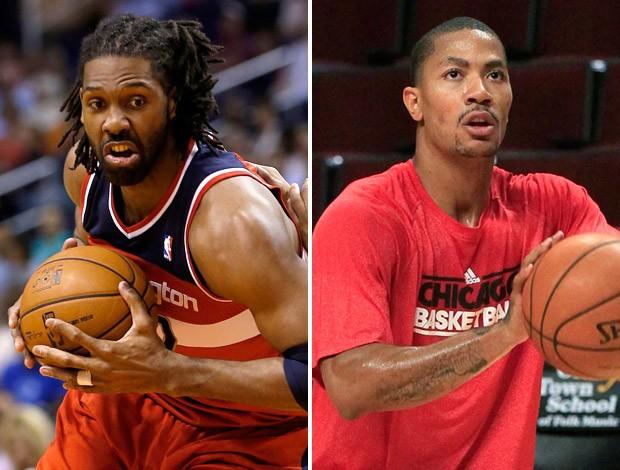 basquete Nene Wizards e Derrick Rose Bulls (Foto: Montagem sobre foto da AP)