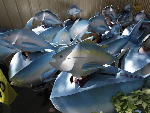 Os ativistas pedem que os EUA ajudem para a obtenção de acordo que reduz a sobrepesca no Oceano Pacífico (Foto: Aaron Favila/AP)