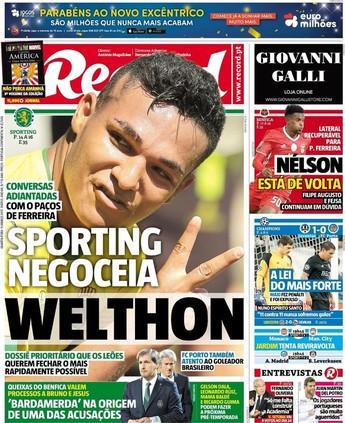 Welthon está na mira do Sporting (Foto: Reprodução/Jornal Record)