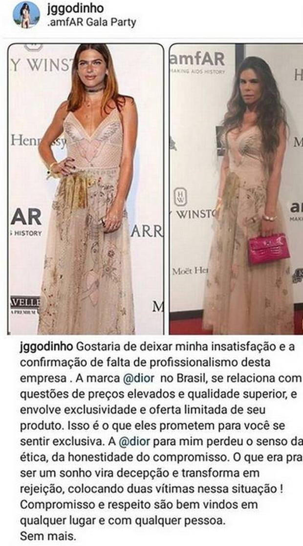Desabafo de Joana Godinho após coincidência de vestido igual ao de Marian Goldfarb (Foto: Reprodução)