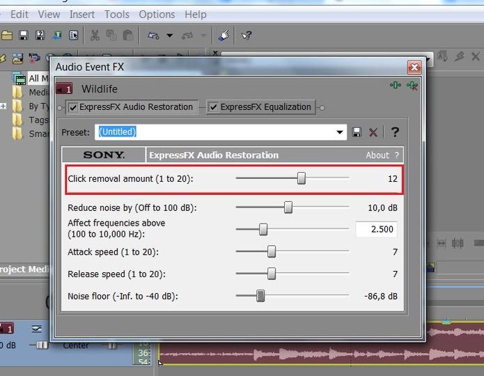 Em Click removal amount você pode editar os ruídos mais aparentes (Foto: Reprodução/Juliana Pixinine)