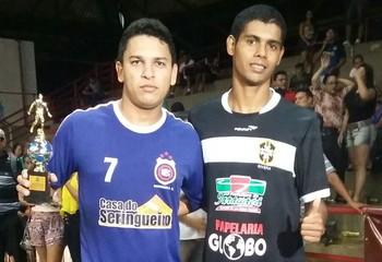 Thiago, do Madureira, e Psica, do Rivera, artilheiros do Acreano de Futsal da 1ª divisão 2015 (Foto: Divulgação/Fafs)