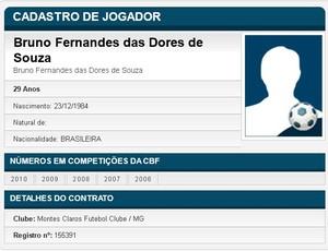 Nome do goleiro Bruno aparece no BID da CBF (Foto: Reprodução/CBF)
