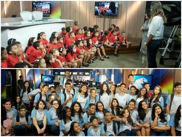 Alunos do SESI e do Colégio Adventista visitam a redação da TV Mirante (Foto: Joyce Mackay/G1)
