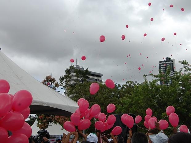 Campanha 'Outubro Rosa' contou com evento no Parque da Criança (Foto: Diogo Almeida/G1)