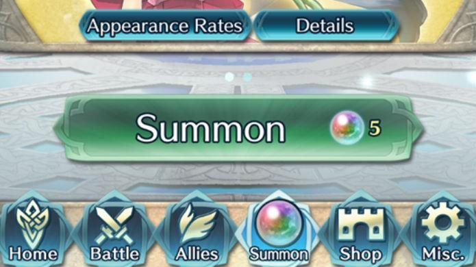 Fire Emblem Heroes: clique em Summon para recrutar mais heróis (Foto: Reprodução / Thomas Schulze )