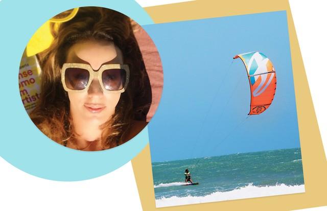 Por causa dos ventos constantes, Fortim é considerado um dos melhores lugares para praticar kite surfe. À esquerda, Camila Garcia (Foto: Francio de Holanda e Divulgação)