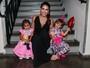 Natália Guimarães leva filhas gêmeas para assistir ao show do pai, Leandro