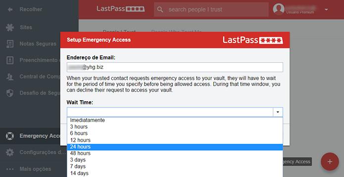 Escolha o tempo de espera para concessão do acesso (Foto: Reprodução/Paulo Alves)
