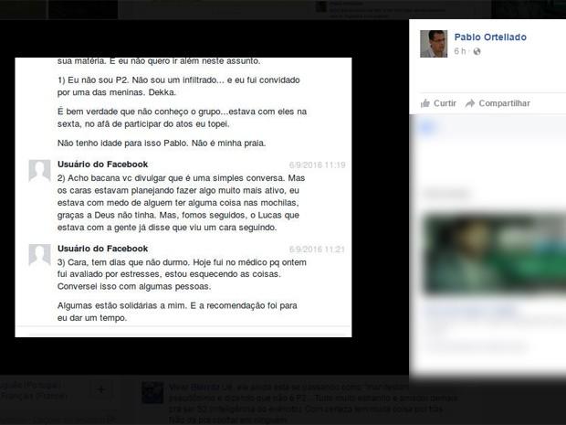 Em mensagem, capitão afirma estar abalado e nega ser policial infiltrado  (Foto: Reprodução/Facebook)