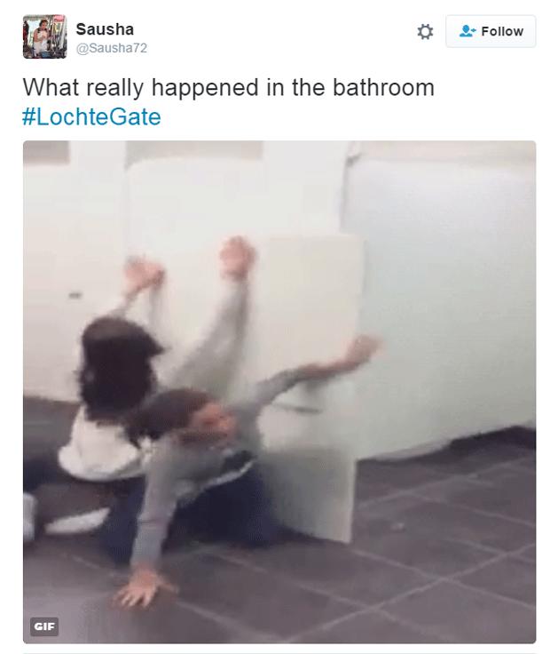 'O que realmente aconteceu no banheiro', diz internauta (Foto: Reprodução/Twitter)