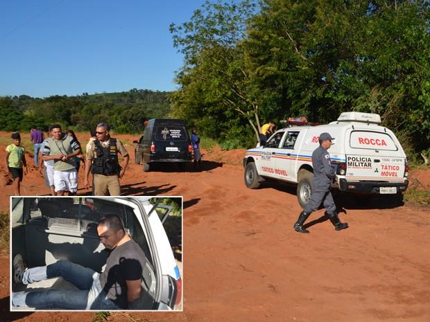 Homem se entrega à polícia após cometer crime em Varginha (Foto: Lucas Soares/G1)