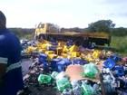 Caminhão tomba e caixas de cerveja ficam espalhadas na pista da BR-153