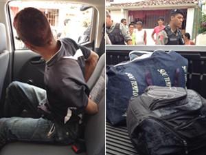 Suspeito foi preso após roubar loja de roupas em João Pessoa (Foto: Walter Paparazzo/G1)