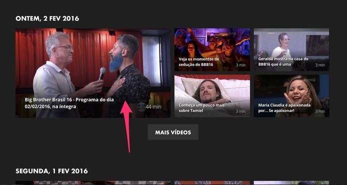 Selecione o vídeo que você quer assistir (Foto: Reprodução/Lucas Mendes)