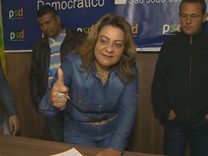 Jania Costa, candidata à Prefeitura de São João del Rei (Foto: Reprodução/TV Integração)