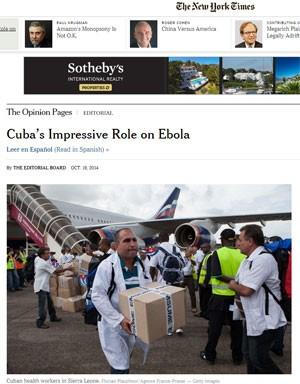 Artigo do 'New ork Times' elogiou ação cubana contra ebola (Foto: Reprodução/The New York Times)