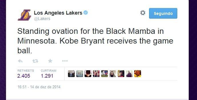 Los Angeles Lakers parabenizou seu jogador (Foto: Reprodução/Twitter)
