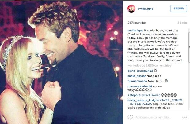 Avril Lavigne anuncia separação de Chad Kroeger, vocalista do Nickelback (Foto: Reprodução / Instagram)