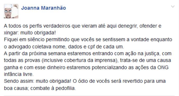 joanna maranhão; ofensas; processo; facebook (Foto: Reprodução)