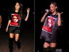 Com camisão e bota longa, Sabrina Sato copia o look de Rihanna