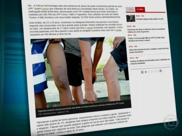 Os jovens agredidos tem 13, 17, 20 e 23 anos de idade. Eles foram abordados porque estariam andando de moto sem capacete. (Foto: Reprodução / TV Globo)