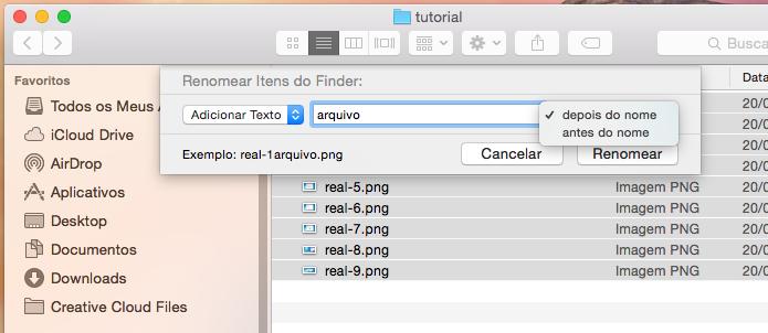 Usando a opção Adicionar Texto para renomear os arquivos (Foto: Reprodução/Edivaldo Brito)