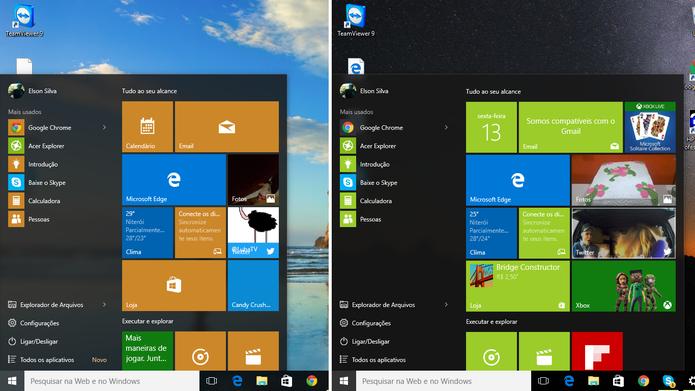 Windows 10 Update 1 trouxe novidades ao menu iniciar, como a fileira adicional de blocos (Foto: Reprodução/Elson de Souza)