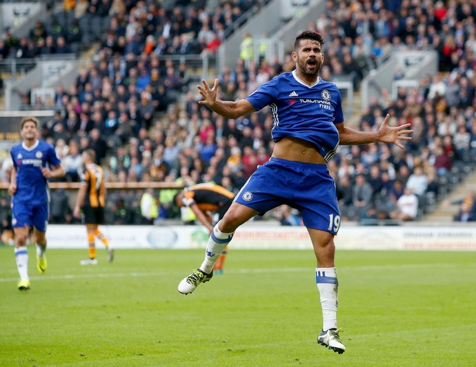 Diego Costa comemora gol do Chelsea (Foto: Danny Lawson/PA via AP)