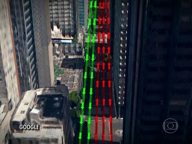 Avenida Rio Branco terá três faixas interditadas (Foto: Reprodução / TV Globo)