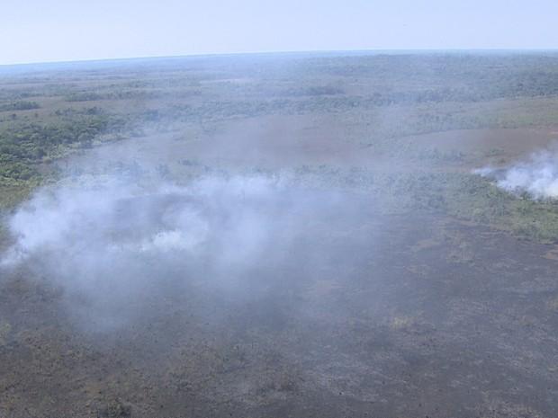 Incêndio atinge reserva indígena e parque nacional em RO (Foto: Reprodução/Rede Amazônica RO)