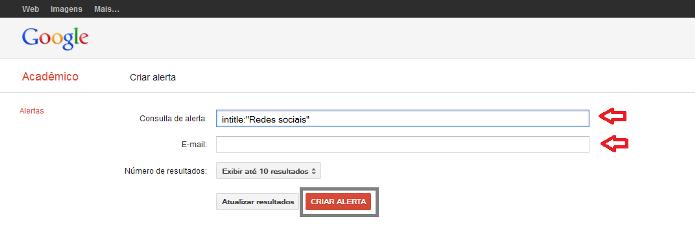 Criando um alerta no Google Acadêmico (Foto: Reprodução/Lívia Dâmaso)