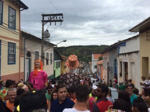 Foliões entoam refrão de Juca Teles atrás do bloco (Foto: Poliana)