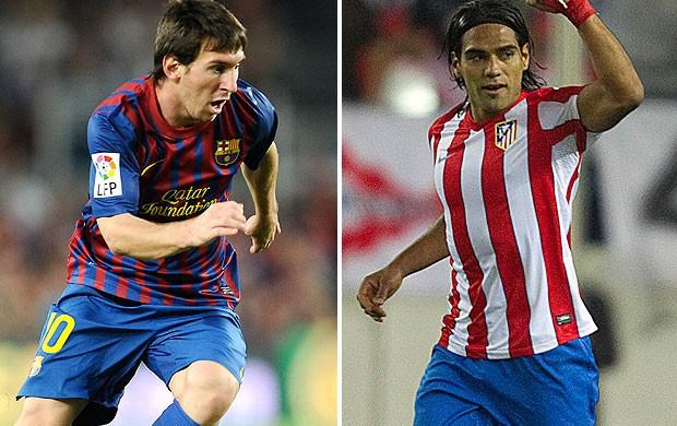 montagem Messi Barcelona Falcao Atlético de Madri (Foto: Editoria de Arte / GLOBOESPORTE.COM)